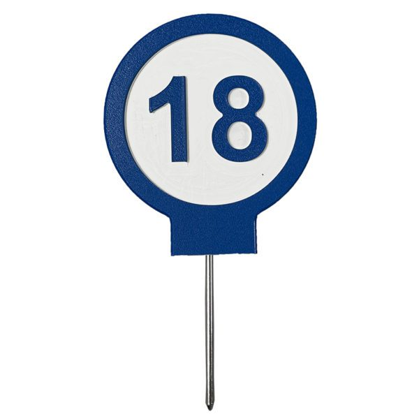 """Image of Perma Core Plastic """"18"""" numbered tee maker in blue"""