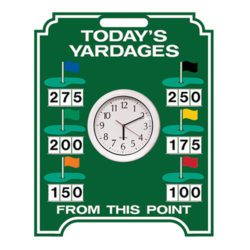 Image of Clock and Yardage Easel in green and white border and text