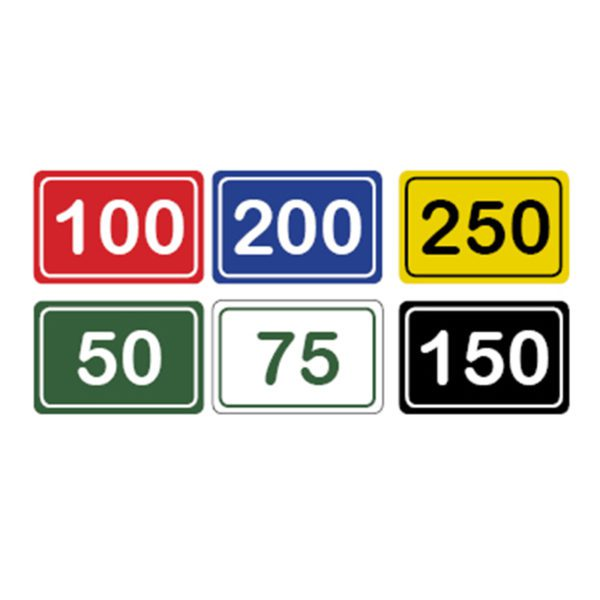 Image of horizontal range yardage markers in red, blue, yellow, green, white, and black