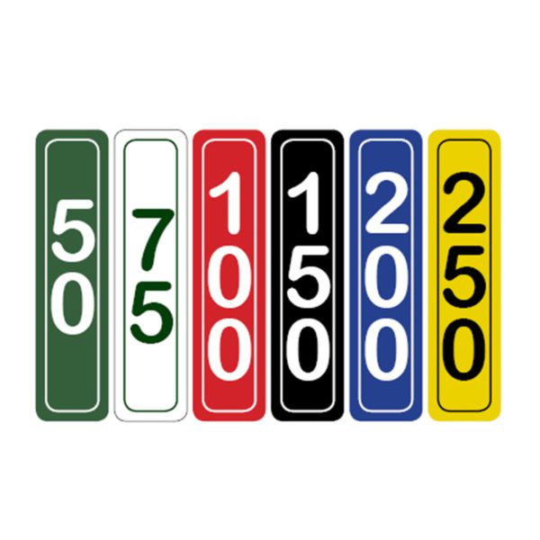 Image of Vertical Driving Range Yardage Target Markers in green, white, red, black, blue, and yellow
